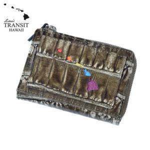 【ブランド紙袋付】 Lanai TRANSIT HAWAI Rainbow Round Zip mini Wallet 二つ折り財布 ラウンドファスナー ダークブラウン LT-70668-BR あすつく ポイント消化|cross9