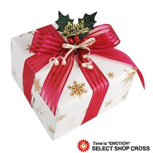 クリスマスギフトラッピング yg-xmas-whre800 スノーホワイト 白包装紙 レッドリボン オーナメント 大切なプレゼントに想いを乗せて★ ポイント消化 あすつく cross9