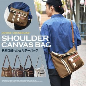 ショルダーバッグ メッセンジャーバッグ 口折れ 斜めがけ バック メンズ DEVICE かばん 鞄 帆布バッグ|crosscharm