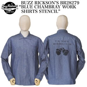 """BUZZ RICKSON'S  BR28279 """"BLUE CHAMBRAY WORK SHIRTS STENCIL"""" crossover-co"""