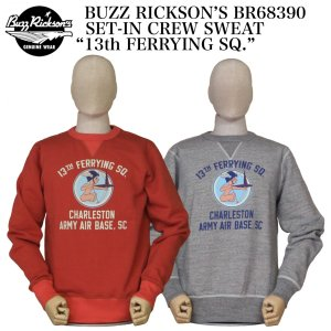 """BUZZ RICKSON'S BR68390 SET-IN CREW SWEAT """"13th FERRYING SQ."""" crossover-co"""