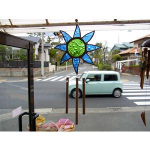 ステンドグラスウィンドチャイム 太陽 ブルー/グリーン|crossroad-cgsk