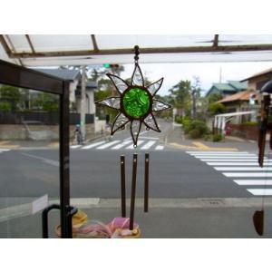 ステンドグラスウィンドチャイム 太陽 クリア/グリーン|crossroad-cgsk