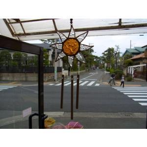 ステンドグラスウィンドチャイム 太陽 クリア/イエロー|crossroad-cgsk