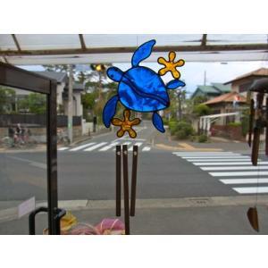 ウィンドチャイム カメ ブルー|crossroad-cgsk