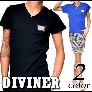 DIVINER Vネック フライス プレート 半袖 Tシャツ メンズ|crossroad24