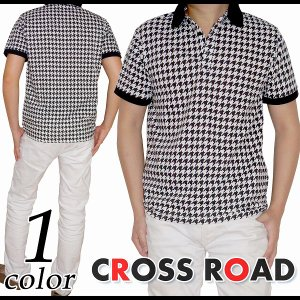 千鳥格子柄 鹿の子 ポロシャツ タイト 半袖 メンズ|crossroad24