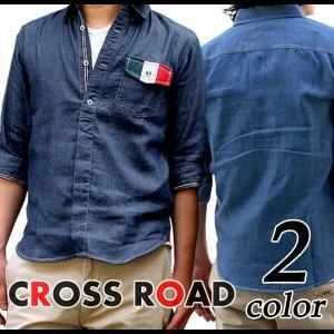 イタリアモチーフ 七分袖 シャンブレー シャツ タイト メンズ|crossroad24