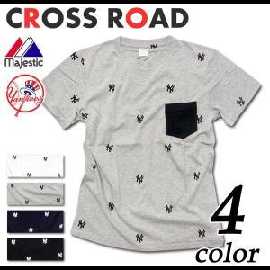Majestic ニューヨーク ヤンキース ロゴ 総柄 ポケ付 半袖 Tシャツ メンズ|crossroad24