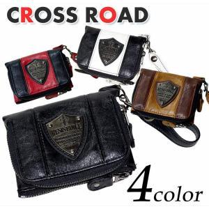 ツートンカラー 切替 フェイクレザー プレート 2つ折り 財布 メンズ