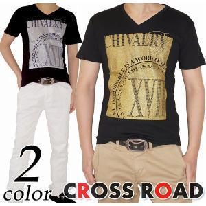 Vネック ラメプリント Tシャツ 半袖 タイト メンズ|crossroad24
