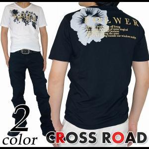 Vネック フラワープリント Tシャツ 半袖 タイト メンズ|crossroad24