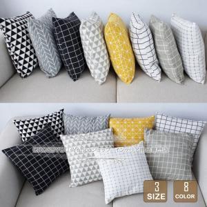 クッションカバー 40x40 45x45 50x50 綿麻生地 幾何柄 北欧 高級感 おしゃれ ソファ背当て 装飾枕カバー