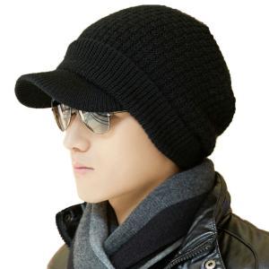 帽子 メンズ ニット帽 ニットキャップ キャスケット つば付き 秋冬 ウール 小顔 フリーサイズ 大きいサイズ 自転車 おしゃれ カジュアル 防寒帽子 crowded1381
