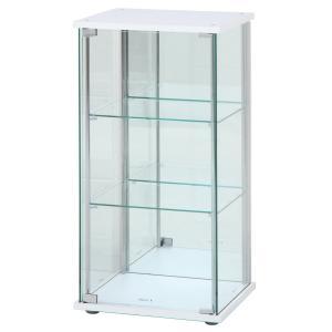 不二貿易 ガラスコレクションケース ホワイト 3段 幅42.5×奥行36.5×高さ86cm 背面ミラー付き 97335|crowded1381