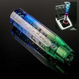 クリスタルシフトノブ バブル 八角 200mm 3枚アダプター付き ブルー ホワイト グリーン T&Tsport 汎用|crowded1381