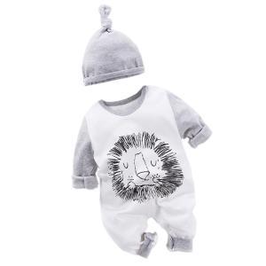 エルフ ベビー(Fairy Baby)新生児服 長袖 カバーオールロンパース 帽子 肩開き ライオン模様(白+灰) 73cm|crowded1381