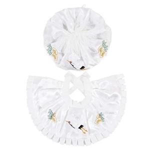 お宮参り 男の子 女の子 兼用 大黒帽セット(帽子、よだれかけ)刺繍入りhudx03 (ホワイト)|crowded1381
