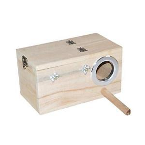 POPETPOP 木製の鳥の巣箱鳥のオウムクリアビューウィンドウ鳥の巣給餌フィーダーステーション家小|crowded1381