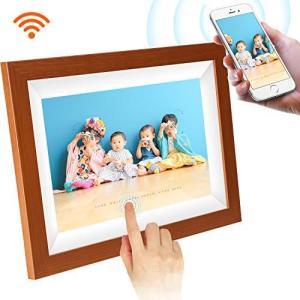 木目調デジタルフォトフレーム WiFi SCISHION 1280*800高解像度タッチスクリーン IPS視野角 16GB内部ストレージ 1080P crowded1381