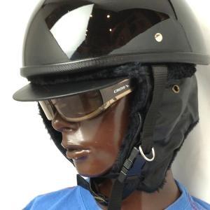 【あすつく対応】 あったか!ヘルメットの下にかぶれる耳あて付き防寒ファーウィンターヘルメットキャップ ブラック / CROW スキー・スノボー・バイク用 帽子|crowracing2