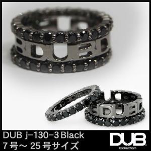 DUB Collection j130-3 3連キュービックリング ブラック シルバー リング RI...