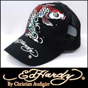 エドハーディー キャップ 【200種類の品揃え】 Ed Hardy Cap KOI FISH ブラック メンズ レディース ファッション ブランド 帽子 カジュアル スタイル セール|crs
