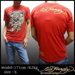 【セール】 エドハーディー メンズ Tシャツ Ed Hardy SKULL RIDER レッド エド...