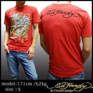【セール】 エドハーディー メンズ Tシャツ Ed Hardy FLAMING TIGER レッド ...