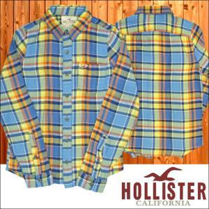 ホリスター メンズ ネルシャツ ブルー HOLLISTER ...