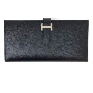 エルメス ベアンスフレ 二つ折り長財布 長財布 ブラック(金具:シルバー金具) ヴォーエプソン  新品|cruru