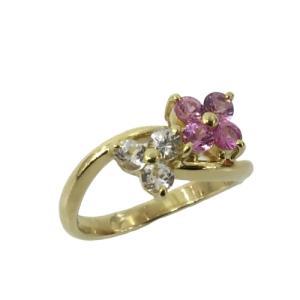 ジュエリー ピンクサファイア ホワイトサファイア リング 指輪 K18YG(750)イエローゴールド×ピンクサファイア(刻印無)×色石(石目なし) cruru