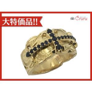 ジュエリー ジュエリー サファイア メンズ クロス リング 指輪 K18YG(750)イエローゴールド×サファイア(刻印無し)  ランクA cruru