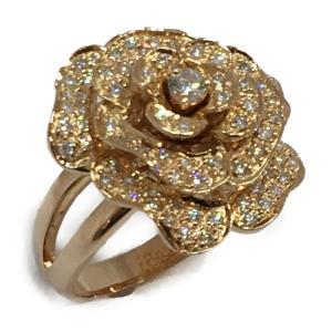 ジュエリー ジュエリー ダイヤモンド 指輪 リング バラ 薔薇 K18PG(750)ピンクゴールド×ダイヤモンド(0.64ct)  ランクA 14号 cruru