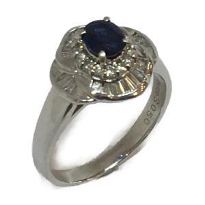 ジュエリー ジュエリー サファイア ダイヤモンド 指輪 リング PT900(プラチナ)×サファイア(0.50ct) ×ダイヤモンド(0.43ct) cruru