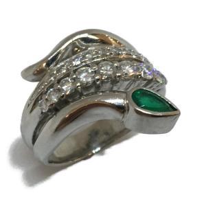 ジュエリー ジュエリー 蛇 ヘビ エメラルド ダイヤモンド 指輪 リング 緑系  ランクA 14.5号 cruru