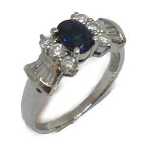 ジュエリー ジュエリー サファイア 指輪 リング PT900(プラチナ)×サファイア(0.43ct) ×ダイヤモンド(0.67ct)  ランクA cruru