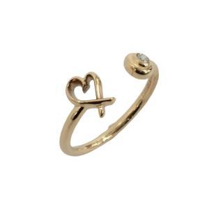 ティファニー ジュエリー ラヴィングハート ワイヤー ダイヤモンド リング 指輪 ピンクゴールド  ランクA 10号|cruru