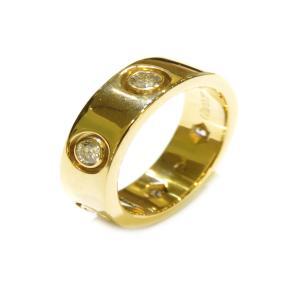 カルティエ ラブリング フルダイヤ 指輪 レディース K18YG(750)イエローゴールド×ダイヤモンド  ランクA #46/6.5号|cruru