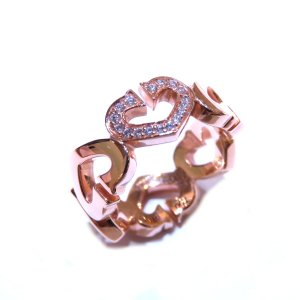 カルティエ Cハート ダイヤリング 指輪 K18PG(750)ピンクゴールド×ダイヤモンド  ランクA #47/6.5号|cruru