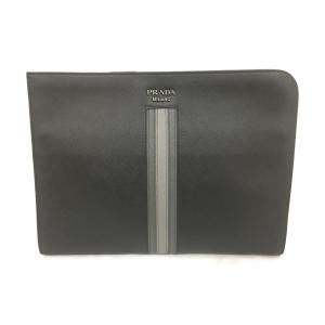 プラダ クラッチバッグ セカンドバッグ メンズ レディース ブラック系 レザー 2VN003 ランクA|cruru