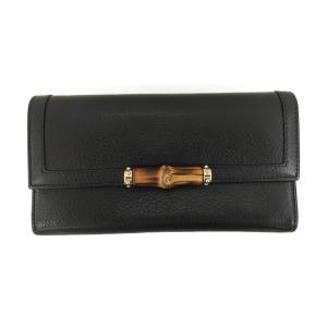 グッチ バンブー 二つ折り長財布 財布 ブラック レザー×バンブー  ランクB|cruru