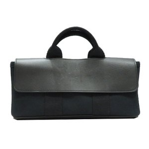 エルメス バルパライソロングPM ハンドバッグ 黒系 シェブロン×レザー  ランクB|cruru