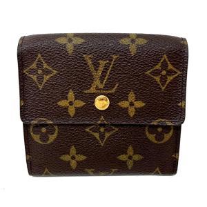 ルイ・ヴィトン Wホック財布 ウォレット 2つ折財布 財布 茶系(ゴールド金具) モノグラム M61652 ランクA cruru