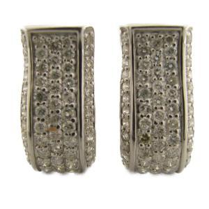 ジュエリー ダイヤモンドピアス ダイヤモンドイヤリング シルバー K18WG(750)ホワイトゴールド×ダイヤモンド 1.00ct×2  ランクS|cruru