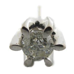 ジュエリー ダイヤモンドピアス 一粒のみ シルバー K18WG(750)ホワイトゴールド×ダイヤモンド 0.5ct  ランクA|cruru