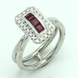 ジュエリー ルビーリング 指輪 PT950(プラチナ)×ルビー 0.48ct×ダイヤモンド 0.27ct  ランクA 12号 cruru