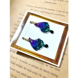 ピアス 飴色蝶々 青紫グラデーション|crystal-aglaia