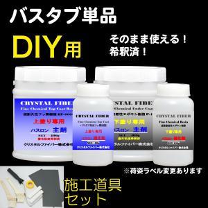 浴室修復塗料 バスロン バスタブ単品用と施工道具セット 塗布剤 選べる10色|crystalfiber