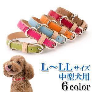 犬の首輪 犬首輪 小型犬中型犬用 シンプルベーシック革首輪 L 、LLサイズ